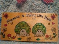 2 Character Personalised Tortoise Flat Plaque Sign  For Bedroom, Vivarium Tortoise Table Garden Playroom Handmade OOAK